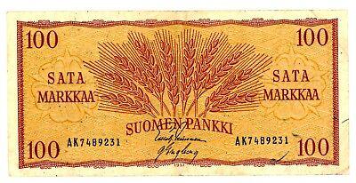 """Finland ... P-97 ... 100 Markkaa ... 1957 ... *VF* ... Prefix """"AK""""."""