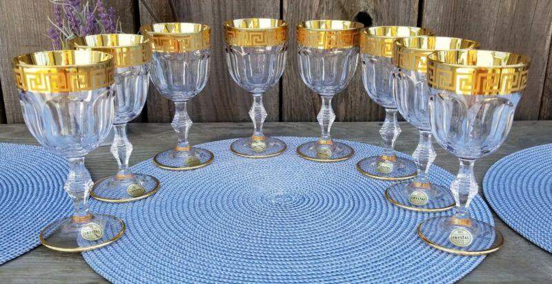 VTG SET OF 8 SC GENUINE ITALIAN LEAD CRYSTAL WINE GLASSES GOLD GREEK KEYHOLE