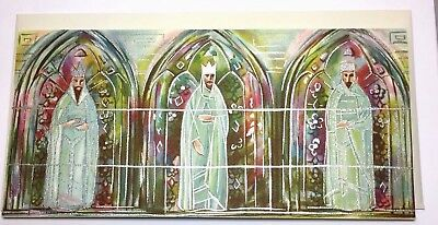ANGELS AUCTION VTG CARD HALLMARK SLIM RETRO MID CENTURY 3 KINGS STAINED GLASS