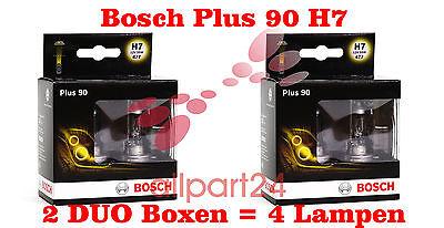 BOSCH AUTOLAMPENSET 4 LAMPEN H7 PLUS 90 2 DOPPELBOXEN SCHEINWERFER LAMPEN
