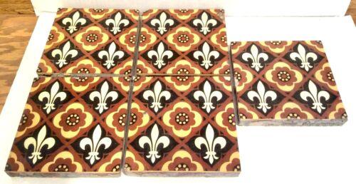 5 Godwin Lugwardine Encaustic Floor Tiles Fleur de Lis  # 13,14,14,16,16A