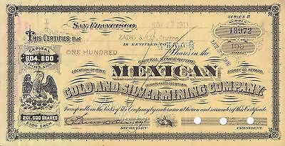 Mexican Gold   Silver Mining Company 1900S 100 Shares Bond Certificate Seriesb