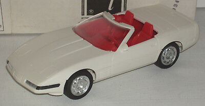 """Plastic Promo Car Chevrolet Corvette Convertible Arctic White 7"""" New in Box"""