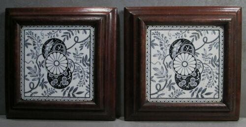 PAIR OF ANTIQUE MINTON CHINOISERIE BLACK/WHITE CERAMIC TILES MOUNTED AS TRIVETS