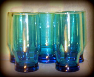 Vintage-Late-60s-Blue-Glass-Tumblers-Mid-Century-Heavy-Base-Glassware