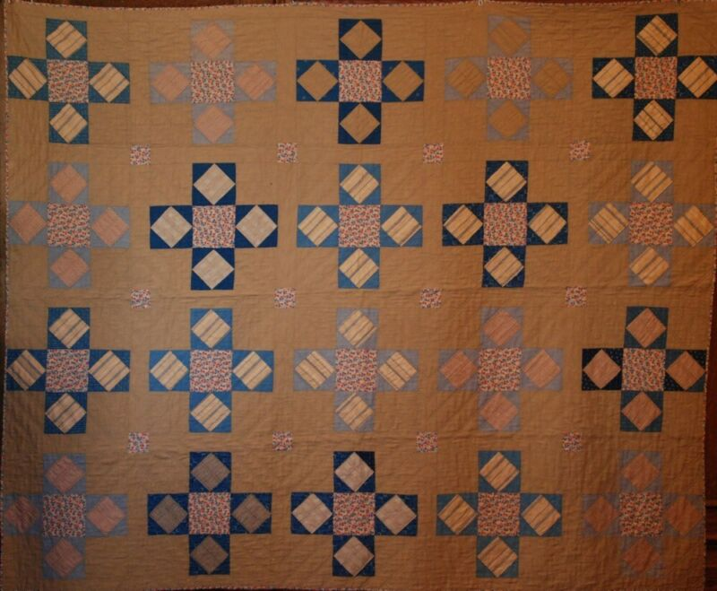 UNUSED UNWASHED HOLMES COUNTY OHIO BLUE and BEIGE VINTAGE ANTIQUE QUILT