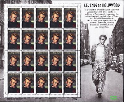 RJAMES: US 3082 JAMES DEAN LEGENDS OF HOLLYWOOD SOUVENIR SHEET , MNH, VF