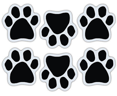 Mini Dog Paw Magnets (Set of 6) - Black - Decorate Your Car, Refrigerator, More