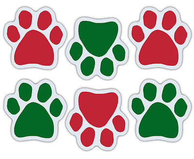 Mini Dog Paw Magnets (Set of 6) - Red/Green Paws - Christmas Decorations - Cars