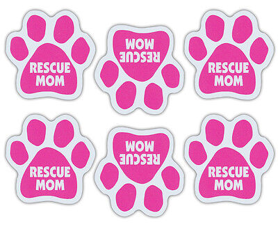 Mini Dog Paw Magnets (Set of 6) - Pink Rescue Mom - Car, Refrigerator, More