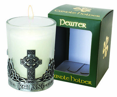 Pewter  Candle Holder Celtic Cross Candle Included Vanilla scent Irish gift