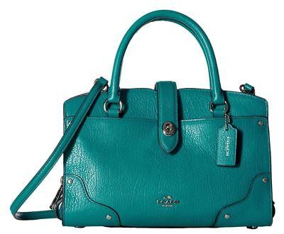 Coach Mercer 24 Leather Handbag Bag Dark Teal Blue Green Acqua 3779 New