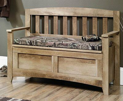 كنبة جديد Sauder 416699 East Canyon Flip-Up Seat Storage Bench In Craftsman Oak Finish NEW