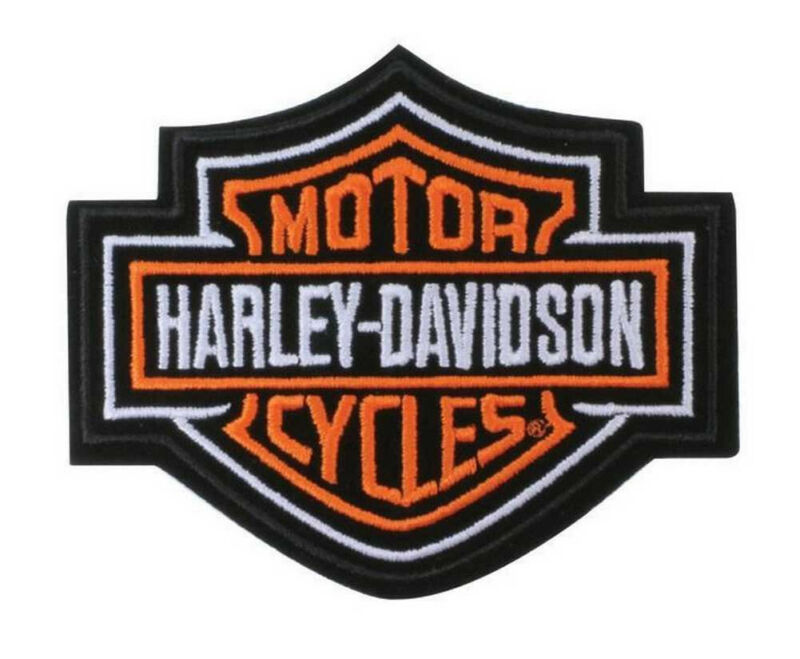 Harley Davidson Classic Bar And Shield Orange Iron On Embroidered Patch Biker
