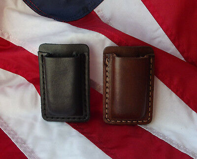 Belt Clip Carrier - J&J LEATHER 9MM SINGLE STACK MAGAZINE POUCH BELT CLIP CARRIER HOLDER HOLSTER