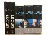 JOHN LE CARRE - TWO HARDBACK BOOKS & THREE VHS BOX SETS