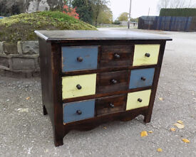 Small Rustic / Industrial Style Pine Chest 3 Drawers