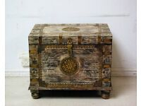 Beautiful vintage antique full hand stenciled brass and teak wood trunk chest