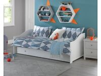 EX DISPLAY Kids Brooklyn Day Bed with Trundle - White