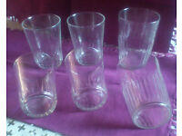 Retro-vintage French glasses x 6 (elegant 50s/ 60s thin glass) - to drink or eat from ...