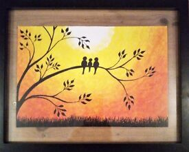 feathered friends bird sunset hand painted incl. picture frame