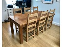 Solid Wood Farmhouse Dining Table and 6 Chairs
