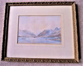 "Lovely Water Colour Mounted On Gold Frame Measures: 12.5W (h) x 15"" (w)"