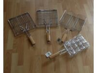 2 BBQ BASKETS, 1 CORN COB HOLDER & 1 RACK *NEW*