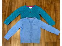2 x girls blue & green cardigans Age 3-4