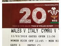 2 x Wales vs Italy vip cat1 tickets halfway line