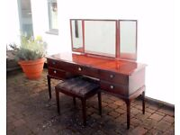 Vintage Mahogany Dressing Table / Vanity / Make-Up Table with mirrors