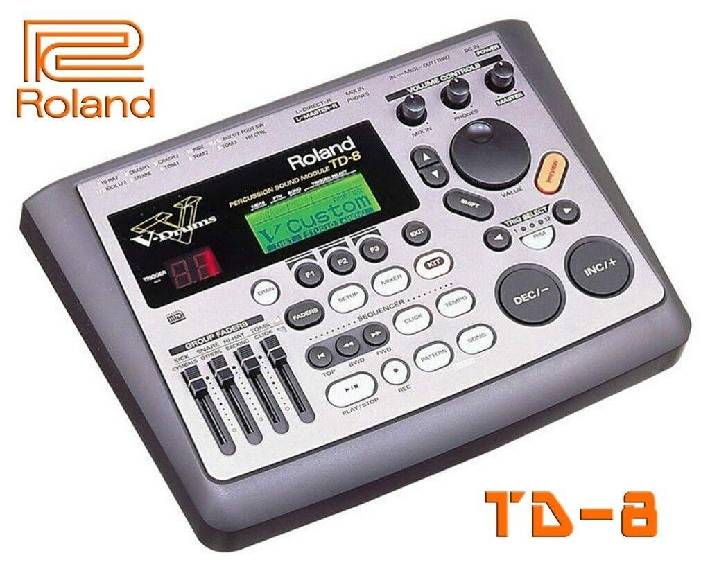Roland V Drums TD-8 Module upgraded w/ V expressions pack electronic kit brain trigger i/o