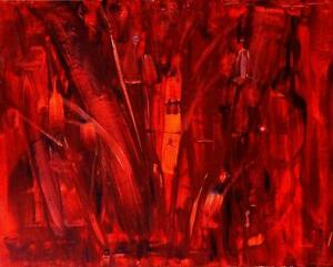 "DIVINE DECADENCE Red Original Abstract Painting art 24 x 30"" OAKVILLE 905 510-8720 See My Other Paintings"