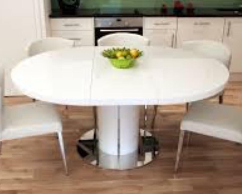 White High Gloss Large Extending Round Oval Dining Table With 6 Leather Walnut