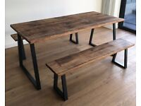Oak Pine Industrial Reclaimed Rustic Wood Steel Metal Kitchen Dining Table Benches - Free Delivery