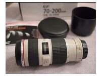 Canon 70-200 f4 IS L series lens..mint ..caps and lens hood.