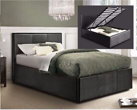 OTTOMAN BED FRAME*** FAUX LEATHER STORAGE BED FRAME WITH MATTRESS SINGLE/DOUBLE