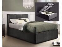 100% CHEAPEST PRICE *** GAS LIFT UP SYSTEM BED! FAUX LEATHER BED FRAME WITH MATTRESS SINGLE/DOUBLE