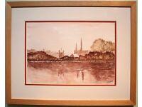 Original Watercolour Painting ENNISKILLEN CASTLE, IRELAND by Irish Artist M DAYE