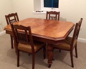 Victorian antique extending dining table and 6 chairs