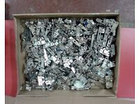 Assorted box of over 50 NEW Blum Hinges for kitchens with mounting plates.