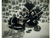 Icandy Peach Black Magic With Carrycot Double Buggy/Pram/Pushchair Great Condition
