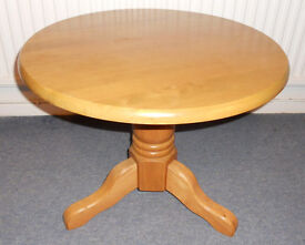 Round Hardwood Coffee Table, Lamp Table, Plant Stand