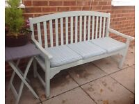 5ft Painted Garden Wooden Bench With Matching Seat Cushion