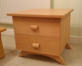 2x Solid Beech bedside tables/2-drawer chests