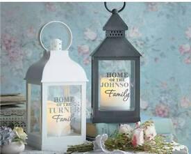 Black or white personalised lantern