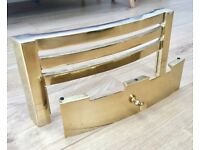 SOLID BRASS FIRE GRATE, VINTAGE ART DECO STYLE, UNUSED, BOXED, FIREPLACE SURROUND