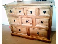 Corona 9 drawer wooden chest of drawers