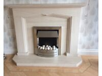 Portuguese Limestone Fireplace + Integrated Electric Fire
