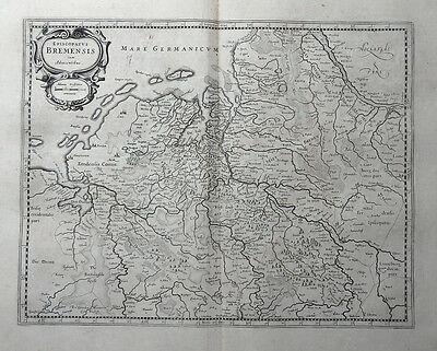EPISCOPATUS BREMENSIS CUM ADIACENTIBUS BREMEN JANSSONIUS KARTE 1645